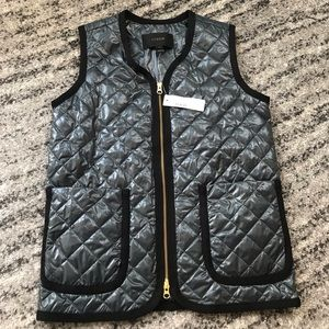 J. Crew Green and Black Trim Vest